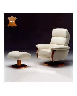 Fauteuil relaxation pivotant avec le repose pieds assorti bois et cuir KALY
