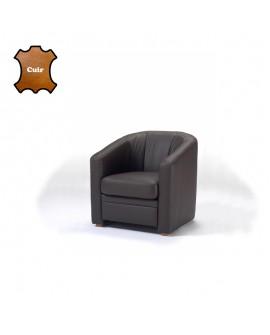 Fauteuil cabriolet cuir noir grand confort MANDY pieds bois