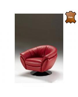 Fauteuil cabriolet pivotant cuir rouge sur piétement aluminium LYDIA