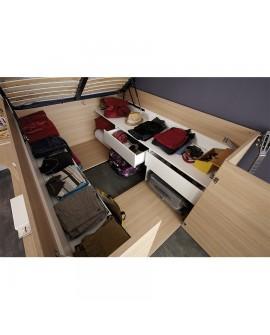 gain de place lit coffre 140 x 190 cm avec dressing int gr. Black Bedroom Furniture Sets. Home Design Ideas
