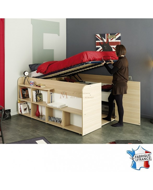 gain de place lit coffre 140 x 190 cm avec dressing int gr. Black Bedroom Furniture Sets. Home Design Ideas