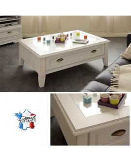 Table basse rectangulaire campagne chic ERINA 1 tiroir de rangement plateau verre