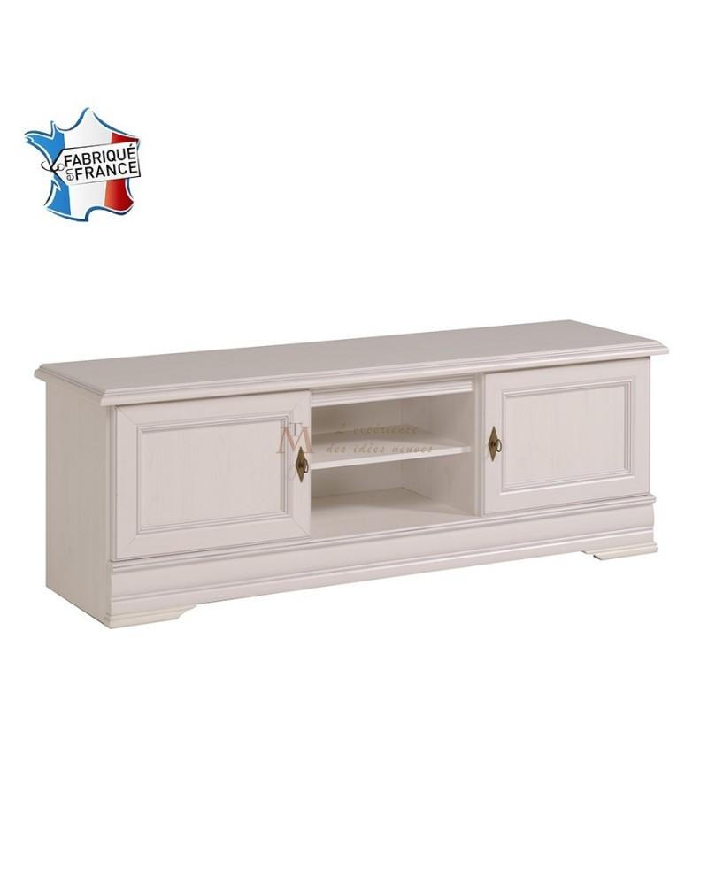 meuble t l vision romantique 2 portes pin blanchi et bronze. Black Bedroom Furniture Sets. Home Design Ideas