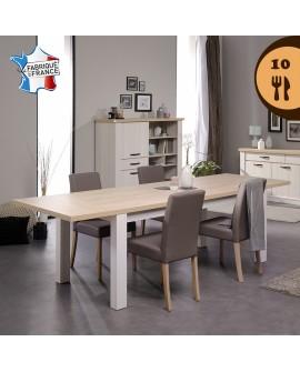La table de salle à manger CUBA pour 10 couverts avec les deux allonges