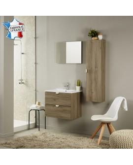 Ensemble salle de bain SAIGON colonne 1 porte vasque 2 tiroirs et 1 miroir