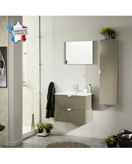 Ensemble salle de bain SAIGON coloris taupe brillant colonne 1 porte vasque 2 tiroirs et 1 miroir