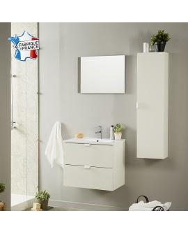 Ensemble salle de bain SAIGON coloris blanc crème brillant colonne 1 porte vasque 2 tiroirs et 1 miroir