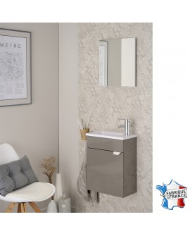 Lave mains SAIGON taupe brillant avec vasque plastique blanc brillant et miroir