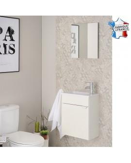 Lave mains SAIGON blanc crème brillant avec vasque plastique blanc brillant et miroir