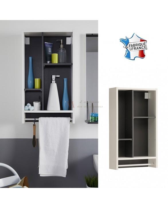 Meuble de salle de bain 40 cm VEGAS avec niches asymétriques et porte-serviettes