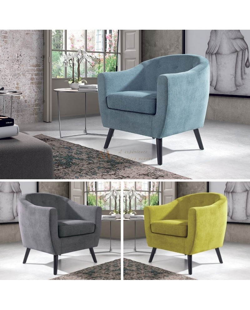 fauteuil confort contemporain 3 coloris de tissu pieds bois. Black Bedroom Furniture Sets. Home Design Ideas