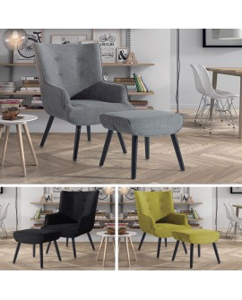 Fauteuil relaxation de style moderne MELISSA disponible en 3 coloris avec pouf