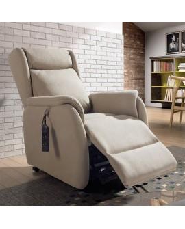 Fauteuil relaxation avec releveur ROMEO tissu 2 coloris 2 moteurs avec flap ouvert