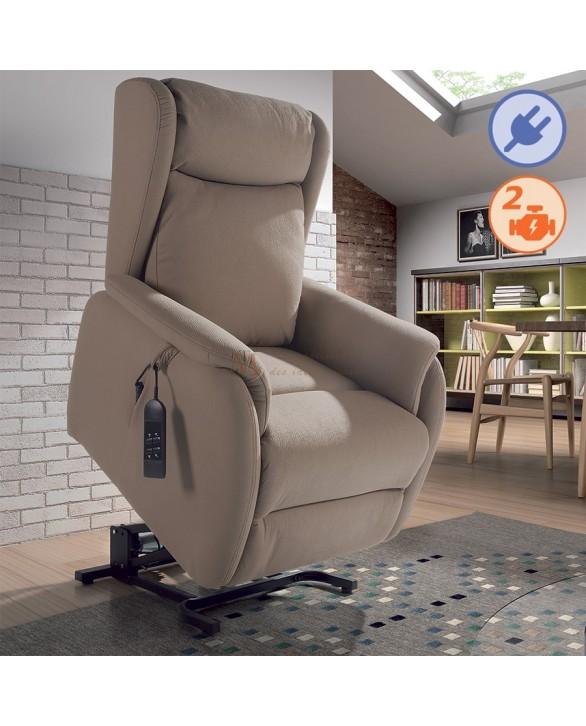 Fauteuil relaxation avec releveur ROMEO tissu 2 coloris 2 moteurs