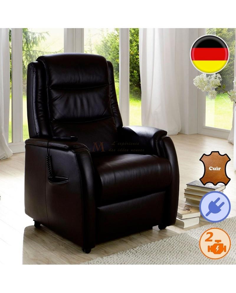 fauteuil releveur et relaxation cuir 2 moteurs lectriques. Black Bedroom Furniture Sets. Home Design Ideas