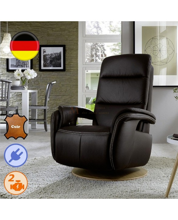 fauteuil relaxation lectrique design cuir pied pivotant ch ne. Black Bedroom Furniture Sets. Home Design Ideas