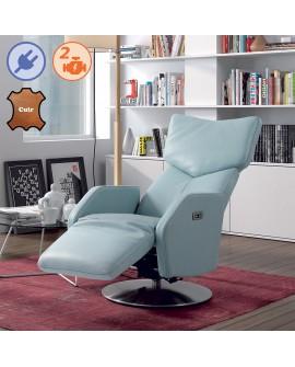 Fauteuil relax et pivotant DEBORAH en cuir bleu, repose pied confort ouvert