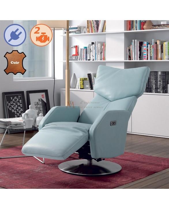 fauteuil pivotant relax lectrique bi moteurs cuir bleu ou noir. Black Bedroom Furniture Sets. Home Design Ideas