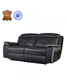 Canapé relax électrique cuir vachette de qualité gris foncé et gris clair CORSA