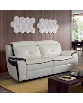 canap relax m canisme lectrique 3 places cuir 2 coloris. Black Bedroom Furniture Sets. Home Design Ideas