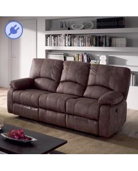 Canapé relax 3 places à mécanisme électrique PAILLON tissu marron