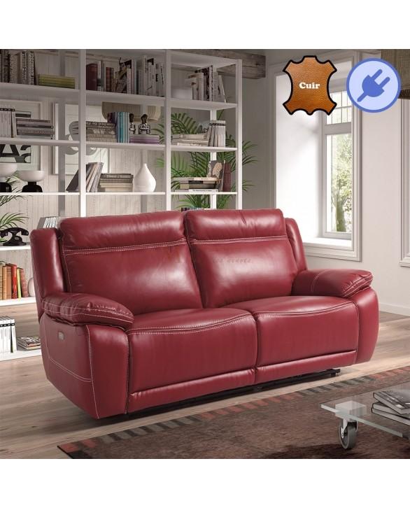 Canap relaxation lectrique 2 ou 3 places 3 coloris de cuir - Canape cuir electrique 3 places ...