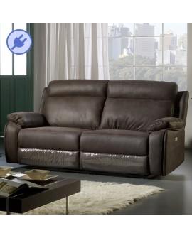 Canapé relaxation 3 places avec 2 assises relax microfibre marron ZANZIBAR