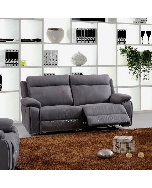 canap 3 places 2 assises relaxation lectrique tissu microfibre. Black Bedroom Furniture Sets. Home Design Ideas