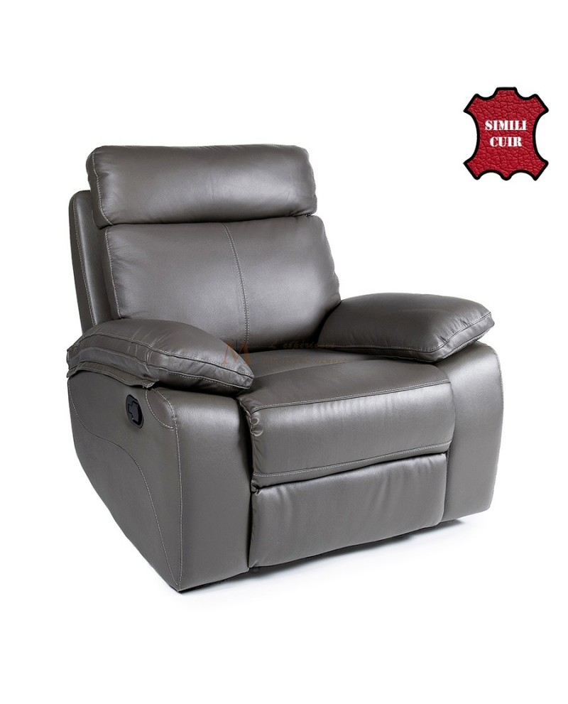 fauteuil confort contemporain relax manuel cuir synth tique gris. Black Bedroom Furniture Sets. Home Design Ideas