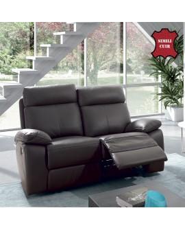 Canapé 2 places revêtement cuir écologique gris ARIZONA relaxation ouvert