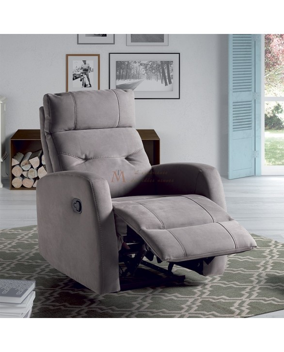 fauteuil relaxation manuel tissu microfibre gris ou marron. Black Bedroom Furniture Sets. Home Design Ideas