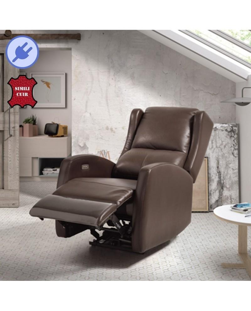 Fauteuil relaxation électrique 1 moteur revªtement cuir marron