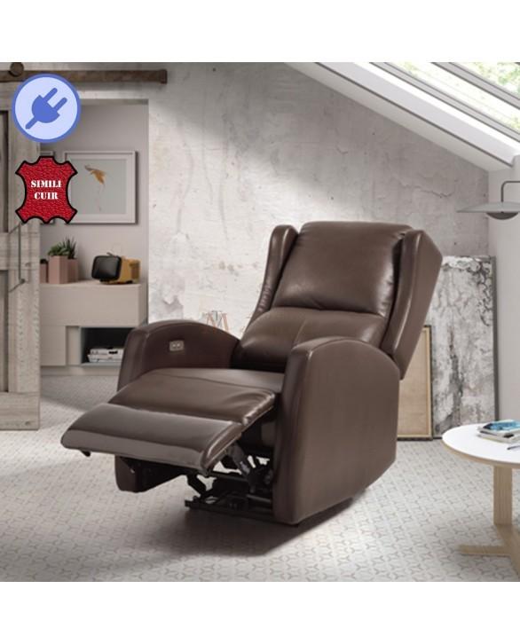 fauteuil relaxation lectrique 1 moteur rev tement cuir marron. Black Bedroom Furniture Sets. Home Design Ideas