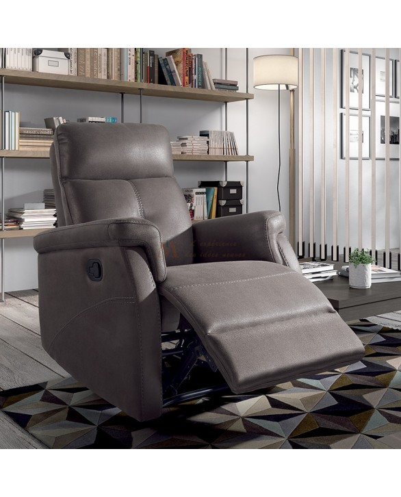 fauteuil confort relaxation manuel microfibre grise ou. Black Bedroom Furniture Sets. Home Design Ideas