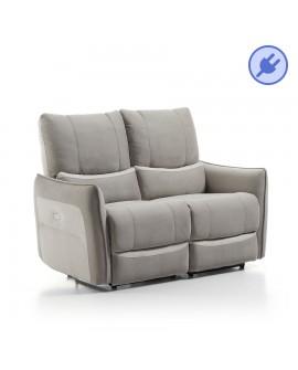 Canapé relaxation électrique MALAISIA version 2 places revêtement gris clair