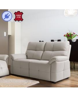 Canapé relaxation électrique 2 places BAYONNE avec reposes-pieds fermés