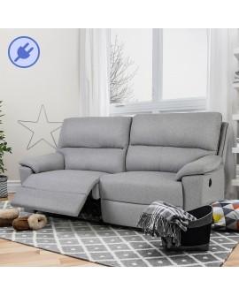 Canapé relax à mécanisme électrique EREBUS revêtement polyester tramé gris