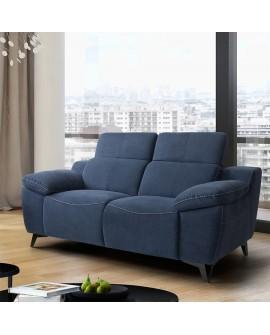 Canapé design 2 places BOLOGNE microfibre bleu avec coutures contrastées
