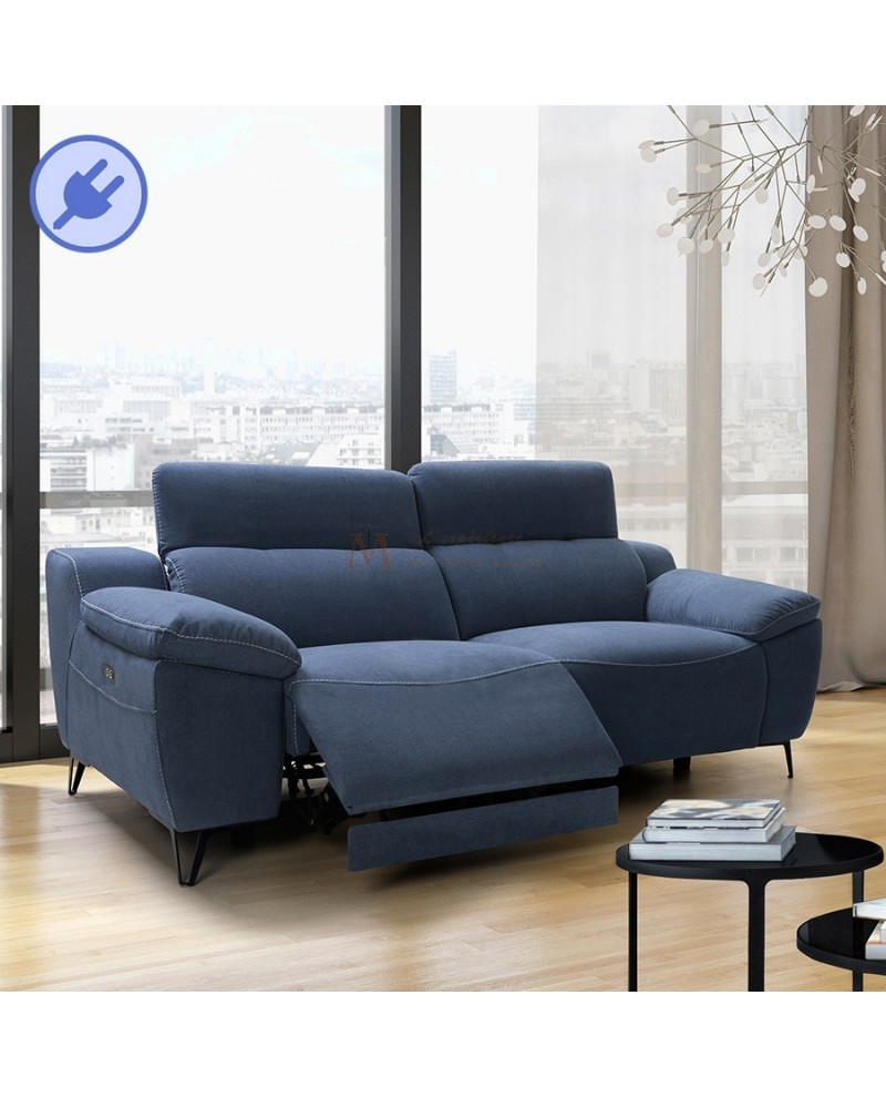 canap bleu 2 ou 3 places relax lectrique t ti res r glables. Black Bedroom Furniture Sets. Home Design Ideas