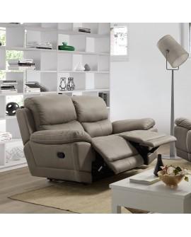 Canapé relax à commande manuelle JANIS imitation nubuck coutures contrastées
