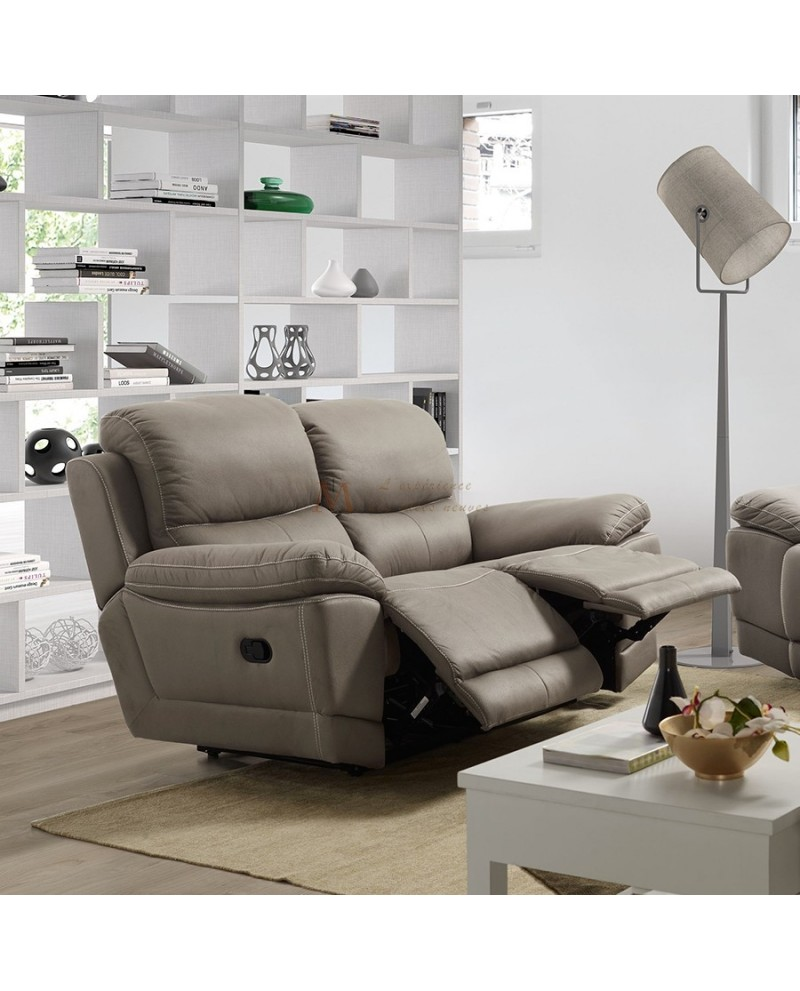 Canap relax manuel 2 3 places tissu nubuck chocolat ou gris for Monsieur meuble canape relax