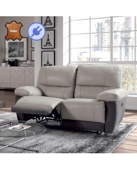 Canapé relax électrique cuir vachette et microfibre gris foncé et gris clair SAMIA