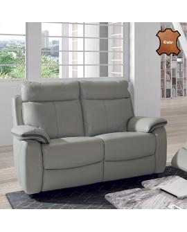 Canapé confort 2 places VERTIGO cuir vachette avec passepoil cuir contrasté