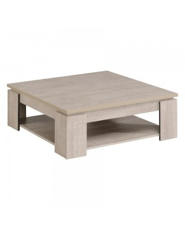 Table de salon carrée TEXAS vue de 3/4 chêne clair avec chants chêne foncé