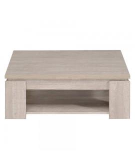Table de salon carrée TEXAS vue de côté chêne clair avec chants chêne foncé