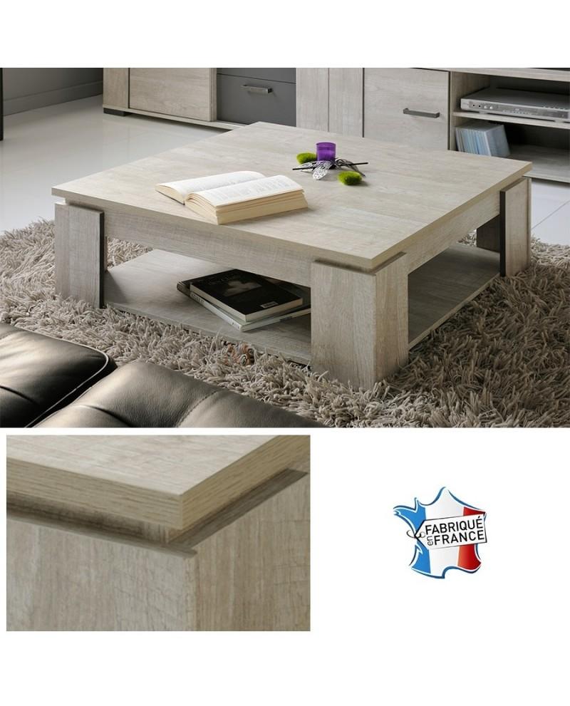 Table de salon carrée TEXAS tablette basse de rangement