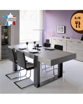 Table de salle à manger TEXAS décor chêne bicolore piétement arche