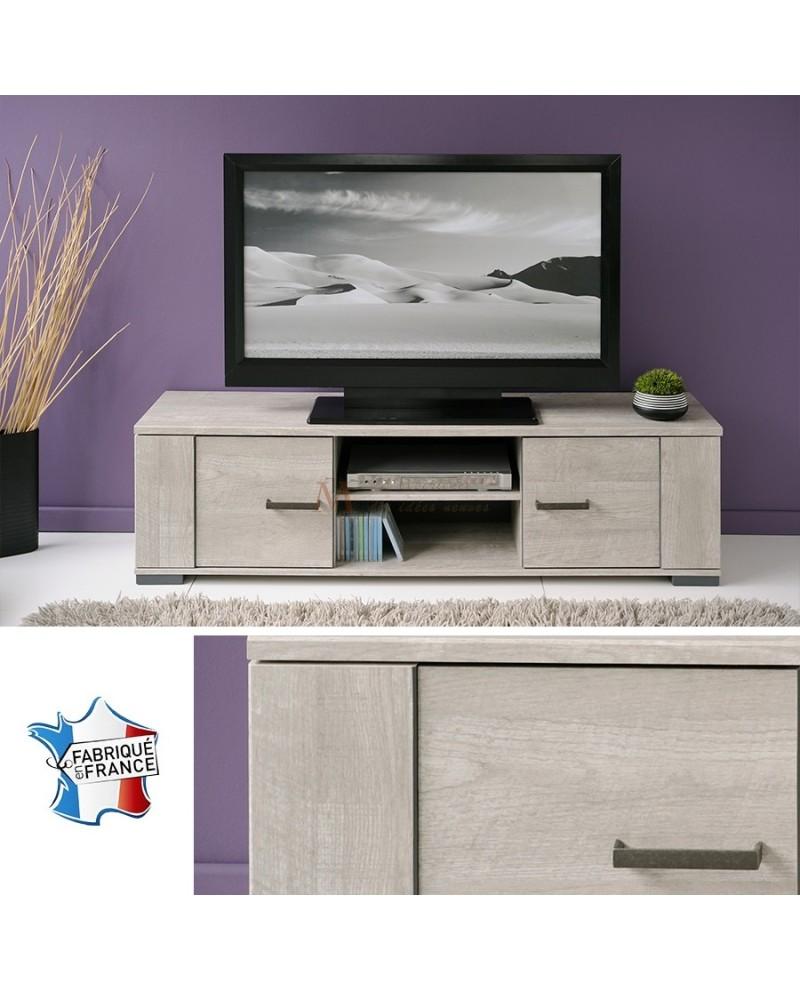 meuble t l vision contemporain ch ne clair 2 portes 2 niches. Black Bedroom Furniture Sets. Home Design Ideas