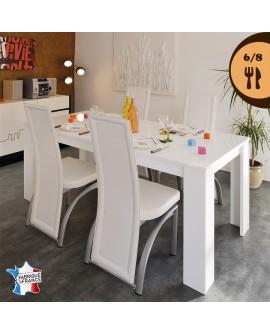 Table repas contemporaine pour 6 à 8 couverts décor blanc brillant FANNY