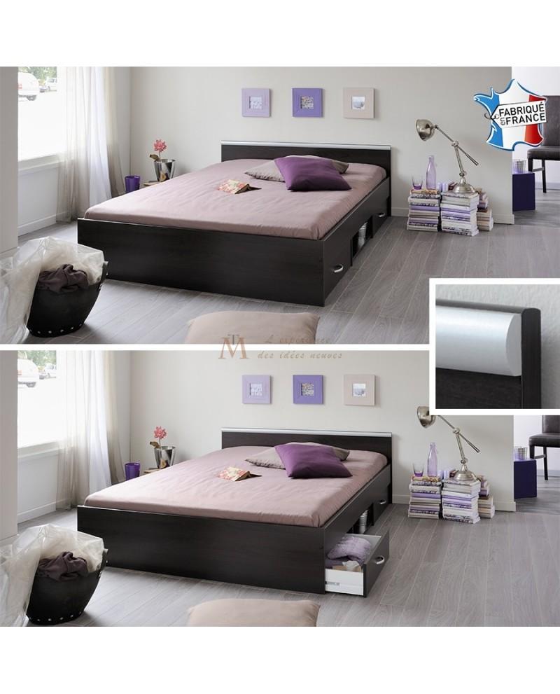 lit gain de place 140 x 200 cm blanc ou weng avec 2 tiroirs. Black Bedroom Furniture Sets. Home Design Ideas